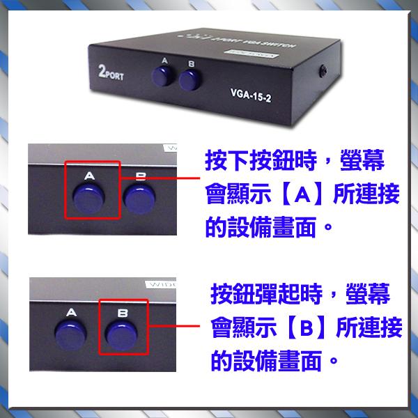 監視器 監控系統專用 VGA切換器 可2台主機共用1台螢幕 VGA分配器 1分2分配器 dvr 台灣安防