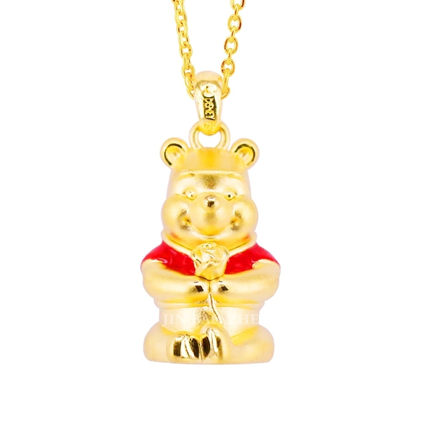 小熊維尼黃金墜子-玫瑰維尼-迪士尼系列金飾
