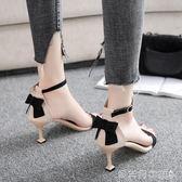 涼鞋女2018夏季新款韓版百搭一字扣細跟貓跟魚嘴蝴蝶結 貝芙莉女鞋