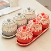 創意陶瓷調味罐套裝喜慶調味瓶罐三件套鹽罐調味罐調味品罐調味瓶