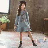 兒童洋裝 女童秋冬款連身裙2020新款韓版洋氣連帽T恤刷毛加厚中大童魚尾公主裙 120-165