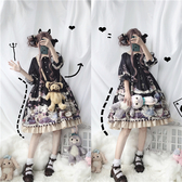 洛麗塔洋裝-春季原創設計洛麗塔lolita兔與愛麗絲op娃娃領精致印花長袖洋裝 完美情人館YXS