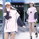 蕾絲拼接T恤女M-4XL寬松百搭休閑時尚大碼上衣 大學T5F025韓衣裳