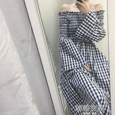 韓風甜美一字領露肩中長款收腰格子長袖洋裝長裙 韓語空間