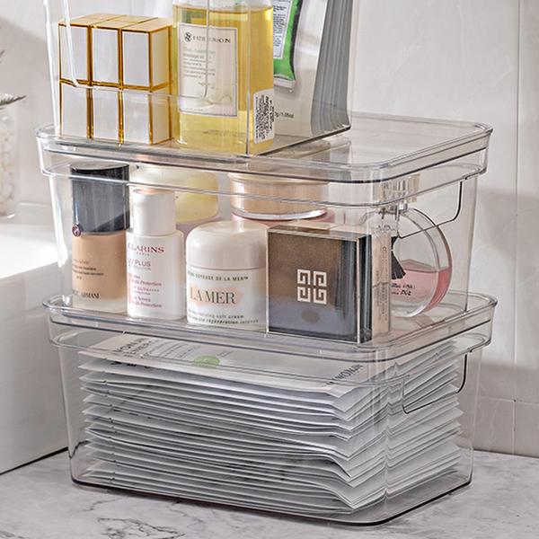 【BlueCat】大號透明手提有蓋壓克力長形收納盒 (36*27*22cm) 收納箱 收納籃 置物箱 儲物盒