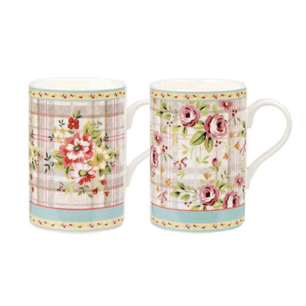 英國Churchill Queens 310ML骨瓷直筒杯(拼布花卉系列兩款可選)
