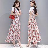 吊帶長裙女女裝韓版兩件套裙子大擺長款雪紡碎花洋裝 『歐韓流行館』