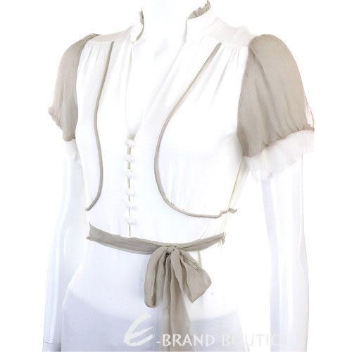 PAOLA FRANI 白色紗質拼接綁帶短袖上衣0820008-20