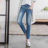 OB嚴選《BA2234-》色彩斑點刷白破損造型牛仔直筒褲--適 S~XL