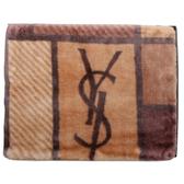 YSL秋冬新款拼接圖形保暖大毛毯禮盒(駝色)989208-55