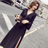 韓版名媛甜美氣質修身七分袖V領黑色連衣裙性感禮服長裙 LI1693『時尚玩家』