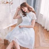 洋裝 中國風蕾絲刺繡短袖洋裝-淺藍色-Rubys 露比午茶