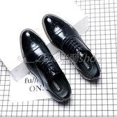 秋季布洛克男鞋韓版英倫休閒商務正裝皮鞋男士尖頭黑色增高婚禮鞋