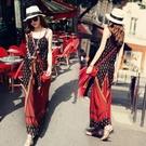 沙灘裙 波西米亞長裙沙灘裙仙泰國海邊度假吊帶民族風大碼棉綢洋裝女夏-Ballet朵朵