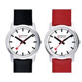 3.6cm藍寶石水晶薄型腕錶-紅黑錶帶任選 Mondaine 瑞士國鐵錶
