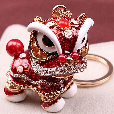 醒獅鑰匙扣女可愛ins小獅子網紅車鑰匙掛件男高檔個性創意圈環扣