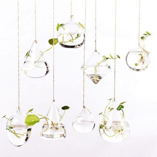 創意懸掛透明玻璃花瓶簡約水培小吊瓶室內園藝家居裝飾瓶植物【端午節免運限時八折】