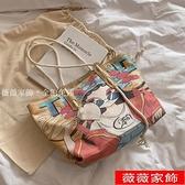 托特包 包包2021新款時尚單肩包女包大容量帆布包ins韓風通勤涂鴉托特包 薇薇