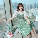 VK精品服飾 韓系優雅雪紡拼接波點印花收腰氣質短袖洋裝