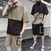 夏季大碼半袖休閒帥氣運動套裝男短袖T恤帥氣街頭嘻哈bf港風兩件式工裝褲裝LXY3099【野之旅】