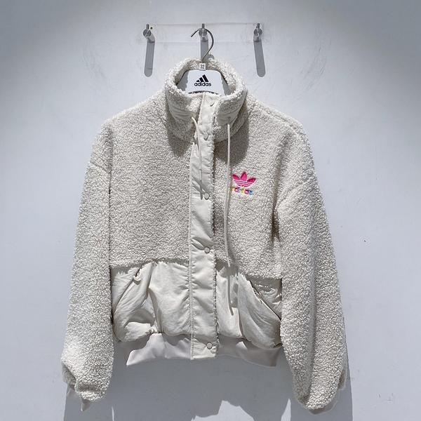 ISNEAKERS Adidas三葉草外套女2020冬款羔羊絨運動休閒夾克 GV2933