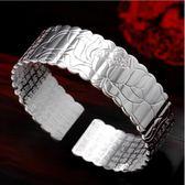 手環-S999足銀銀手鐲 男女士情侶款寬面開口時尚手環女飾品 花間公主