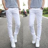 男士白色牛仔褲男款青年修身中腰直筒寬鬆純白色休閒長褲子    初語生活