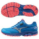 【MIZUNO 促銷7折】MIZUNO (女) WAVE RIDER 20 暢銷款 GORE-TEX 防水女慢跑鞋 / 藍灰