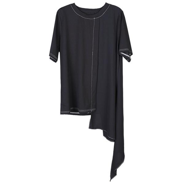 不規則半袖T恤小眾設計感雪紡拼接時尚短袖T恤/設計家