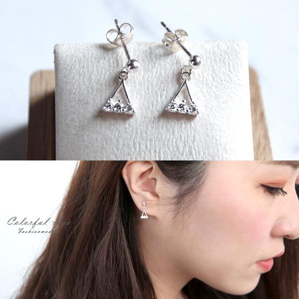 銀飾 水鑽鏤空三角耳針耳環NPD207