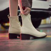 秋季馬丁靴女英倫風圓頭粗跟短靴子黑色中跟女鞋單靴 糖果時尚