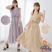 洋裝 印花荷葉抽繩綁帶無袖長洋裝-Ruby s 露比午茶