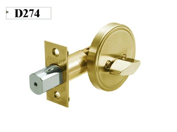 D274 加安牌 單向輔助鎖 60mm單一旋轉鈕 單向鎖組 金色 青銅 粉體塗裝 FAULTLESS 房間鎖