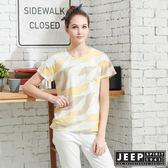 【JEEP】女裝極簡短袖T恤-黃色