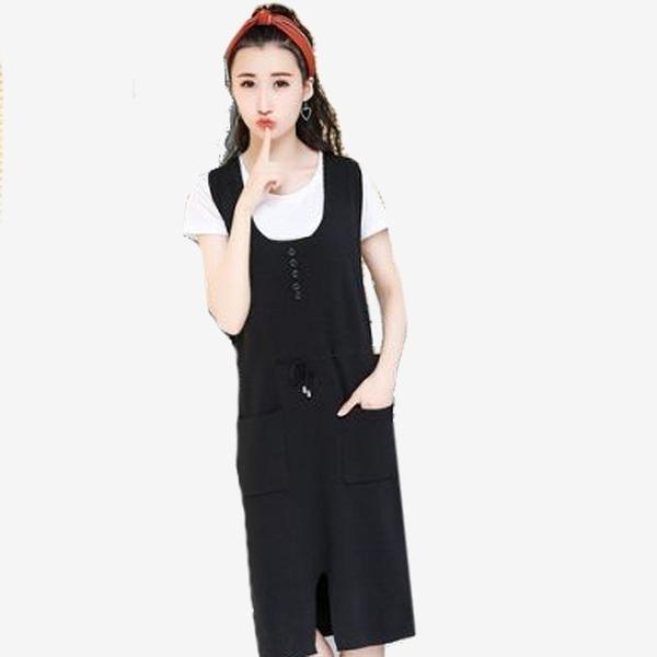 韓版細毛衣腰抽繩雙口袋吊帶裙 (棕  黑)二色 11942026