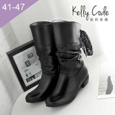 大尺碼女鞋-凱莉密碼-可調整圍緞帶後綁帶騎士平底中靴3.5cm(41-47)【HO7-3】黑色