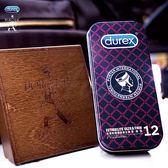★全館免運★保險避孕套 情趣用品-商品 Durex杜蕾斯 x Porter更薄型保險套鐵盒限定版 12入 黑紅格紋
