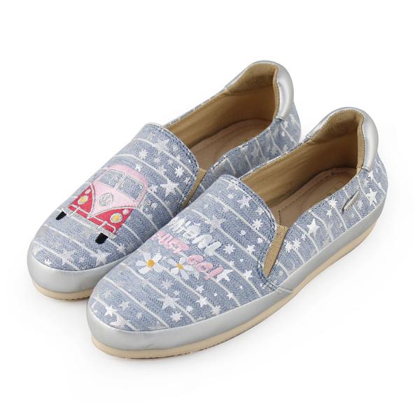 Paidal刷白藍單寧粉紅小巴休閒樂福鞋