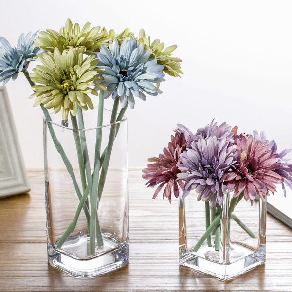 現代簡約創意花瓶透明玻璃方缸客廳辦公室餐桌裝飾玻璃花瓶擺設 森雅誠品