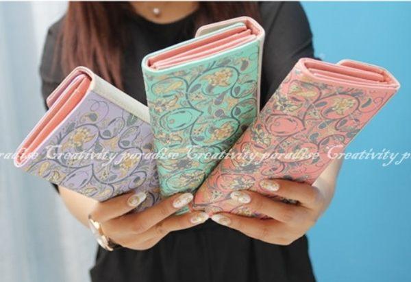 【小碎花三折皮夾】韓系田園菱格皮革手機包長夾皮包錢包卡片包note 5 8 iphone 7 plus