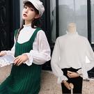 素面立領燈籠袖長袖上衣/白襯衫/內搭襯衫【D927561-1】