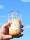 創意星星耐熱玻璃水杯帶吸管杯子大容量珍珠奶茶杯果汁飲料杯帶蓋 智慧e家