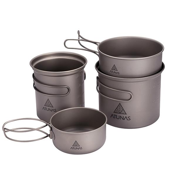 ATUNAS折疊鈦雙套鍋組(4件入)(平底煎鍋/湯鍋/輕量無毒/登山炊具/野炊/露營/戶外餐具)