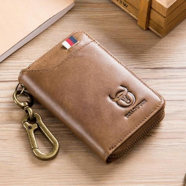 頭層牛皮新款個性復古潮流鑰匙包短款真皮男士商務錢包卡包零錢包 創意新品