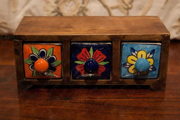 印度手繪 陶瓷 三抽收納盒/首飾盒
