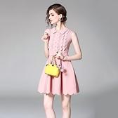 洋裝-無袖秋季娃娃領拼接荷葉邊女連身裙2色73of102【巴黎精品】