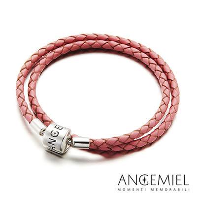 Angemiel安婕米 義大利純銀珠飾 雙圈皮革手環(粉紅)
