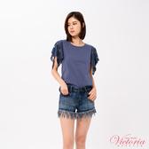 Victoria 袖蕾絲拼接短袖T-女-V85425