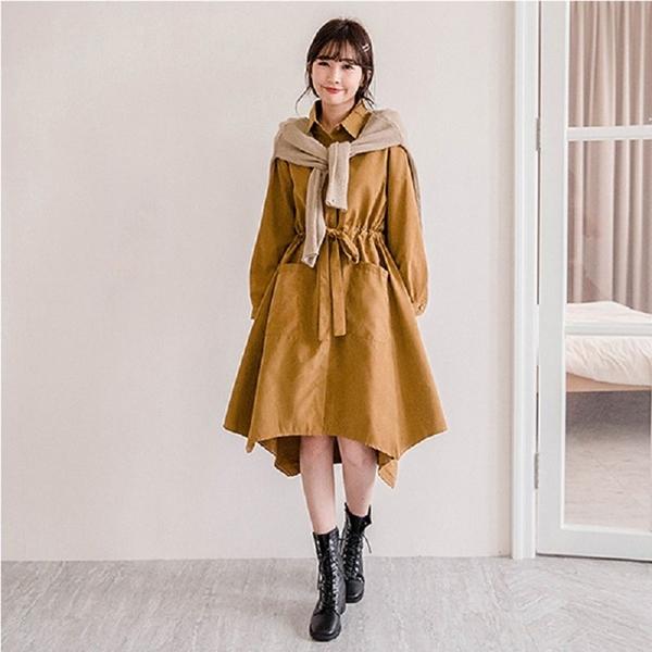MIUSTAR 排釦抽繩雙大口袋麂皮洋裝(共4色)【NH2809】預購