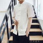 夏季短袖男青年復古盤扣漢服唐裝